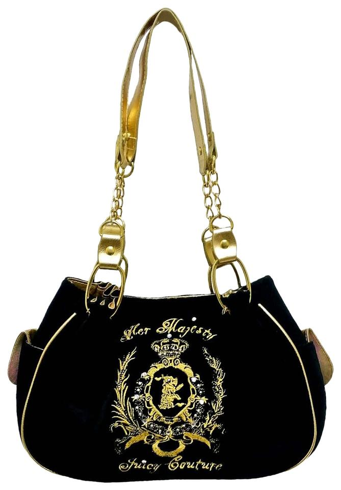 ca8924a3a05c0 Juicy Couture Her Majesty Black and Gold Velvet Shoulder Bag - Tradesy