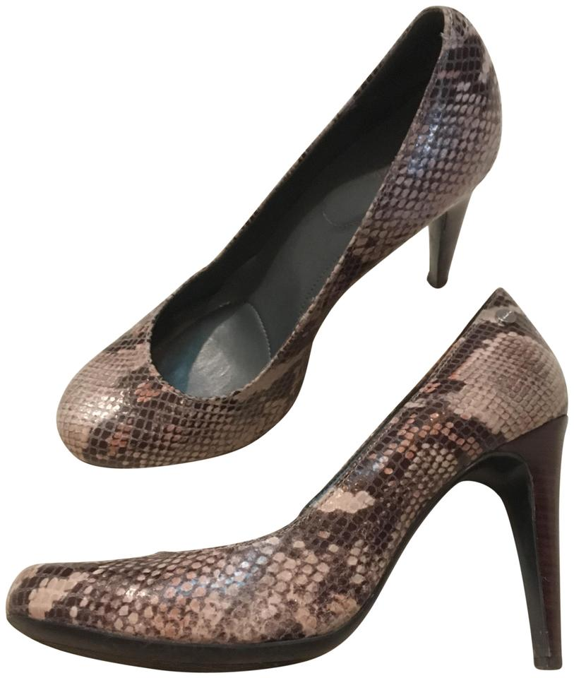 53f048680914 Calvin Klein Brown and Tan Python Print Round-toe Pumps Size US 7 ...
