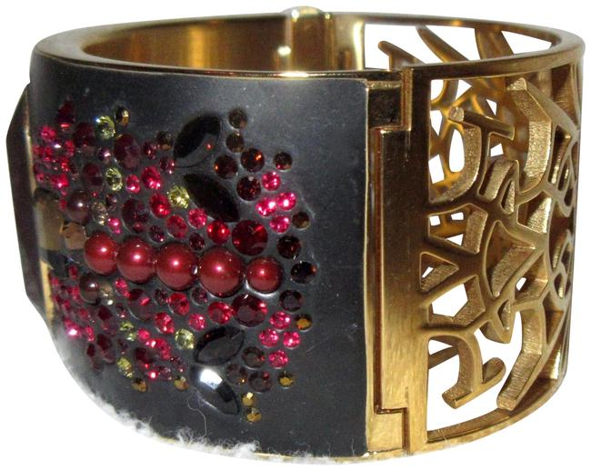 Swarovski Black Red Purple and Gold Plated Crystal Hinged Bangle 2-sided Reversible Wear Bracelet Swarovski Black Red Purple and Gold Plated Crystal Hinged Bangle 2-sided Reversible Wear Bracelet Image 1