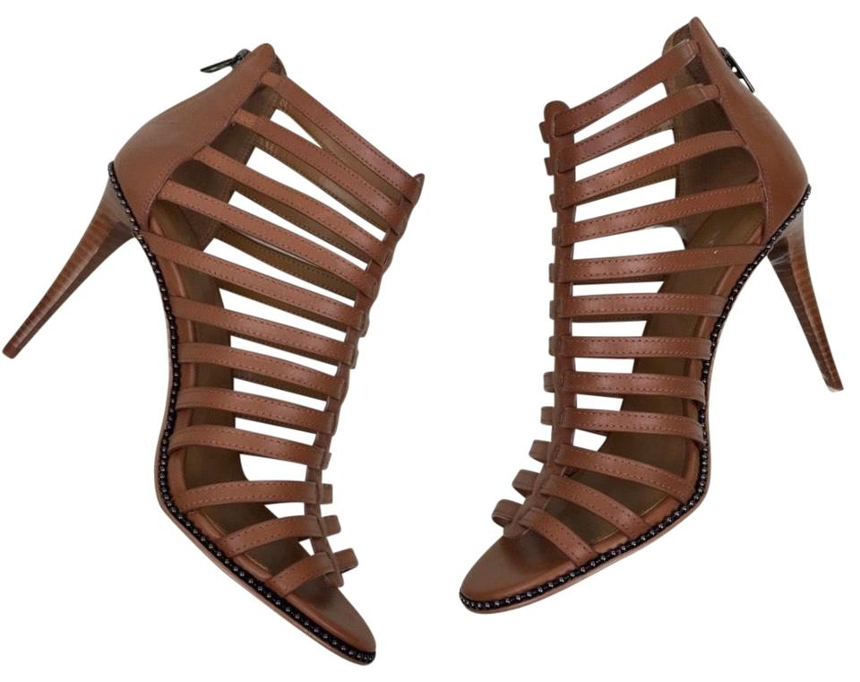 e1ae3b2fa66 Coach Brown Saddle Kia Leather Gladiator Cage High Heels Pumps Studs Formal  Shoes