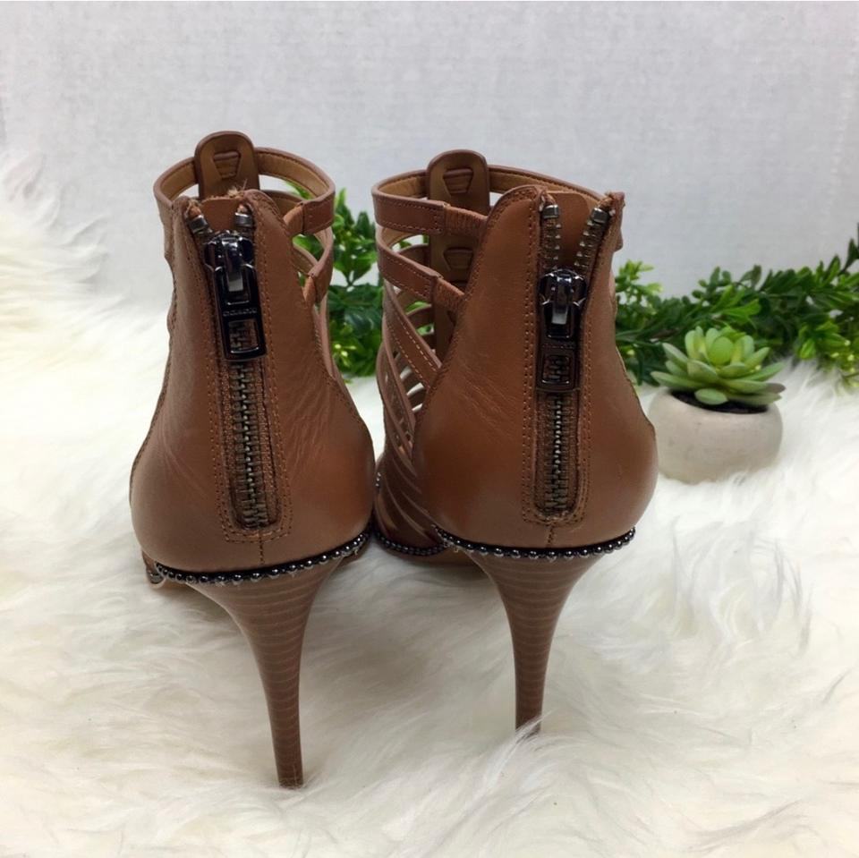 4f26964bbec Coach Brown Saddle Kia Leather Gladiator Cage High Heels Pumps Studs ...