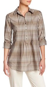 Lafayette 148 New York Plaid Cotton Pleated Casual Top