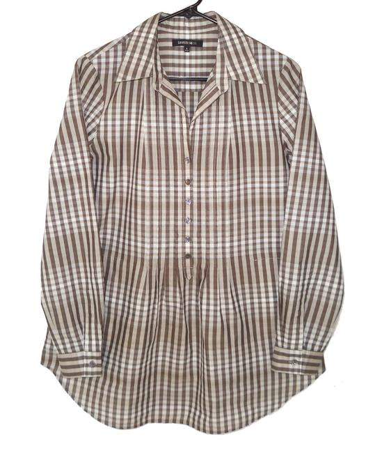 Lafayette 148 New York Plaid Cotton Pleated Casual Top Image 1