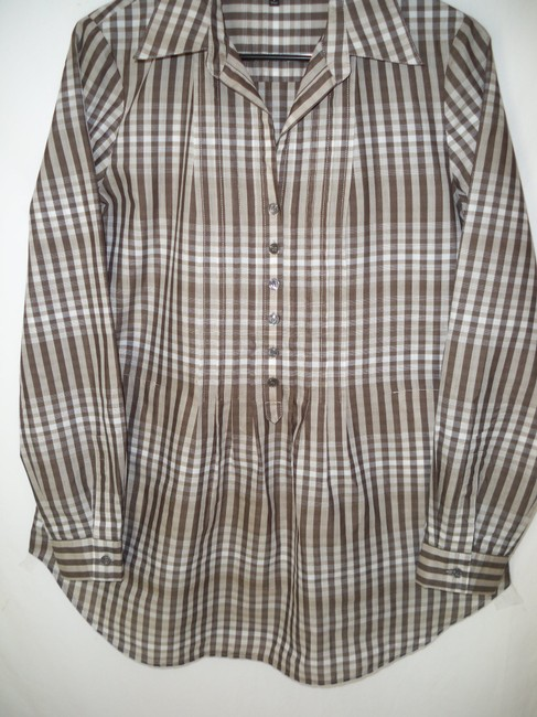Lafayette 148 New York Plaid Cotton Pleated Casual Top Image 2