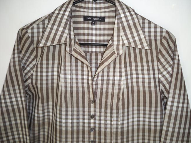 Lafayette 148 New York Plaid Cotton Pleated Casual Top Image 3