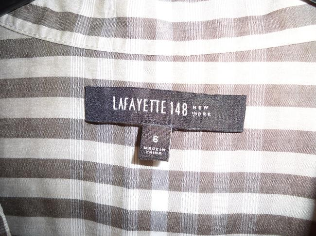 Lafayette 148 New York Plaid Cotton Pleated Casual Top Image 4