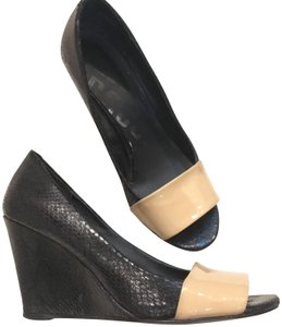 Kelsi Dagger Patent Leather Peep Toe Snakeskin Black and nude Wedges