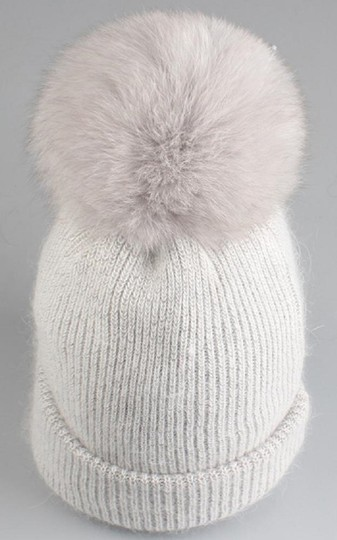 Other New Angora Wool Detachable Real Fur Pom Pom Beanie Hat Image 2