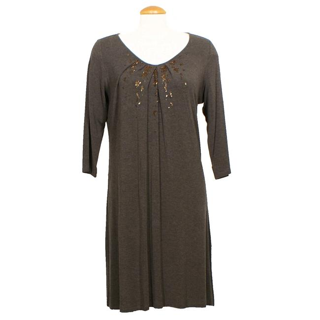 Eileen Fisher Cobblestone Brown Jersey XL Cozy Viscose Stretch Sequin Short Casual Dress Size 18 (XL, Plus 0x) Eileen Fisher Cobblestone Brown Jersey XL Cozy Viscose Stretch Sequin Short Casual Dress Size 18 (XL, Plus 0x) Image 1