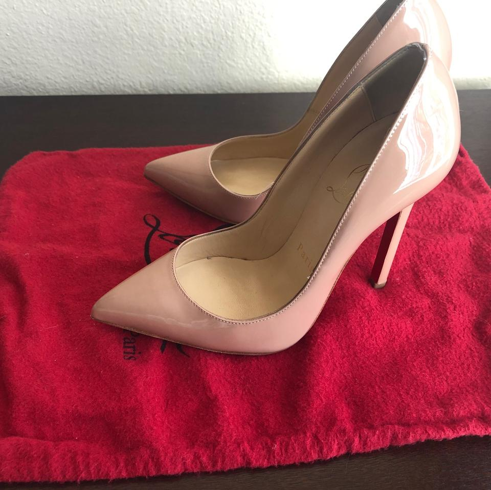 3ed3e0ad35 Christian Louboutin Beige Nude Patent Leather Pigalle 120mm Pumps ...