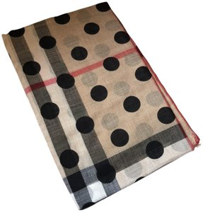 Burberry New Burberry Dot and Giant Check Wool and Silk Gauze Scarf