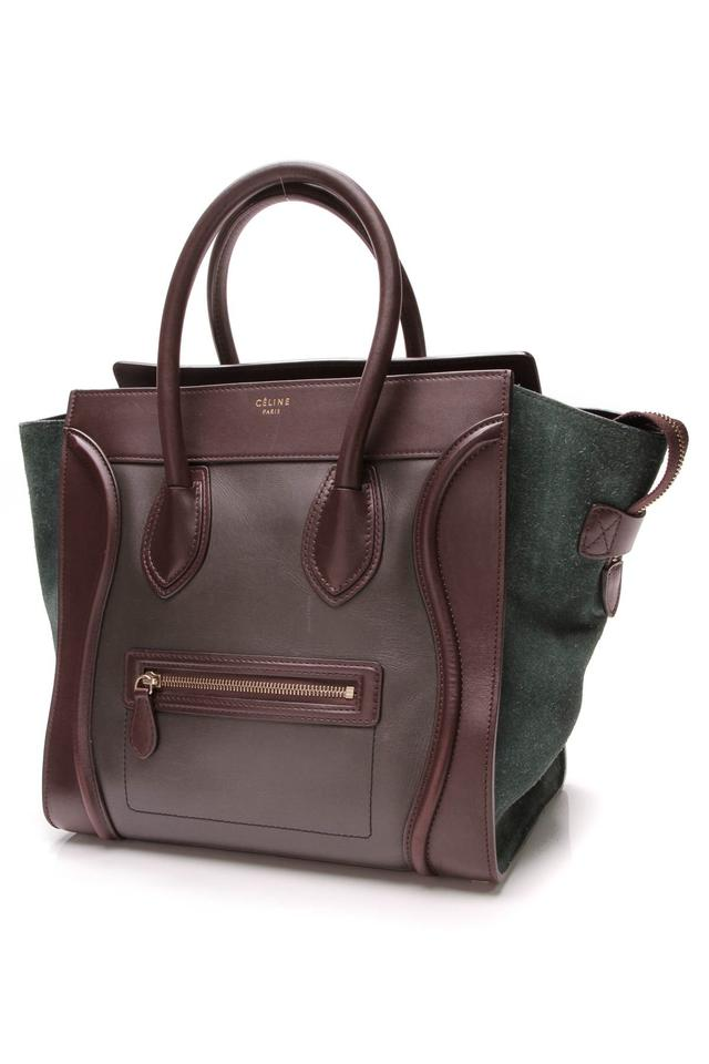 Céline Luggage Tricolor Mini - Leather Suede Brown Leather Shoulder ... 91fb7a176aaa6
