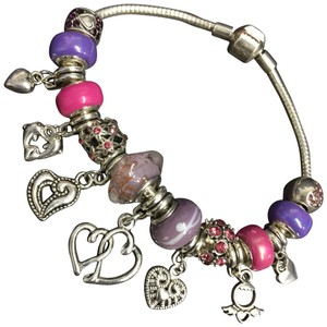 3884f8f75 Prettycheapandcharm.com Free Shipping! Pandora Inspired Silver Plated  Deluxe Heart Charm Bracelet with Ceramic