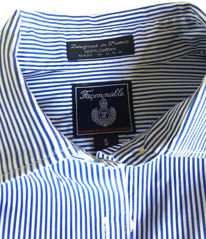 dd5b14e4 Faonnable Button Up Button Down Shirt light blue and white stripe Image 0  ...