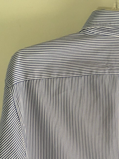 Faonnable Button Up Button Down Shirt light blue and white stripe Image 1