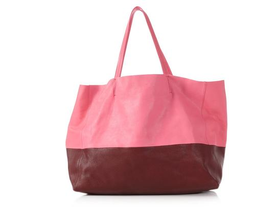 Preload https://img-static.tradesy.com/item/24549634/celine-horizontal-cabas-bicolor-burgundy-and-pink-leather-tote-0-0-540-540.jpg