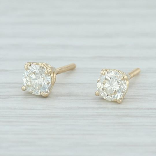 Other .88ctw Diamond Stud Earrings - 14k Yellow Gold Round Solitaire Pierced Image 1