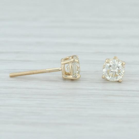 Other .88ctw Diamond Stud Earrings - 14k Yellow Gold Round Solitaire Pierced Image 2
