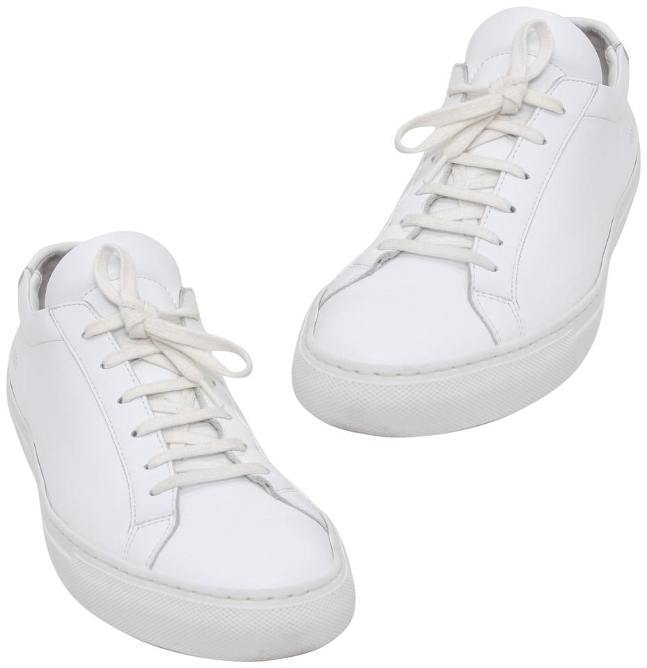 5d5d35692748c Common Projects White Signature Achilles Leather Low Lace Up Sneakers  Sneakers. Size  EU 41 ...