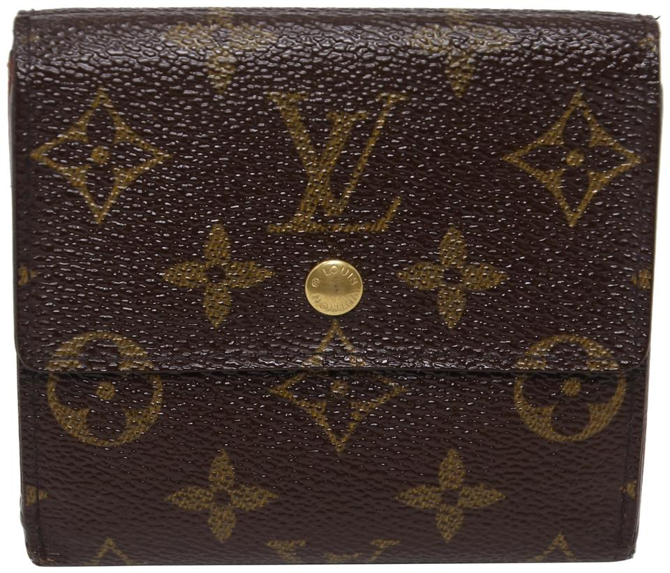 Louis Vuitton Brown Monogram Canvas Classic Elise Double Sided French Purse  Wallet 265fb5994e1