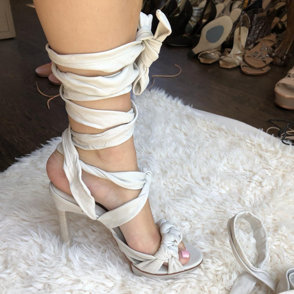 6a9a3507ee576c BCBGMAXAZRIA Leather Lace Up Wrap Around Tie Sandals White Pumps Image 9.  12345678910