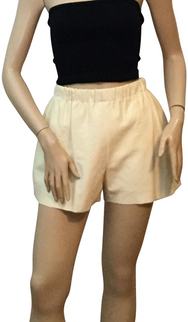 Hache Ivory Leather & Textured Cloth Shorts Size 8 (M, 29, 30) Hache Ivory Leather & Textured Cloth Shorts Size 8 (M, 29, 30) Image 1