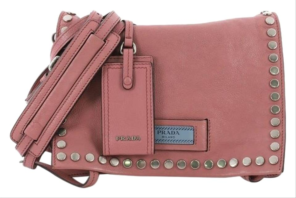 84c6cecb2b34 Prada Etiquette Flap Studded Glace Calfskin Small Pink Leather Cross Body  Bag