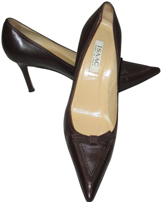 "Isaac Mizrahi Brown Made In Italy Leather 3.5 "" Heels with Bow Pumps Size US 10 Regular (M, B) Isaac Mizrahi Brown Made In Italy Leather 3.5 "" Heels with Bow Pumps Size US 10 Regular (M, B) Image 1"