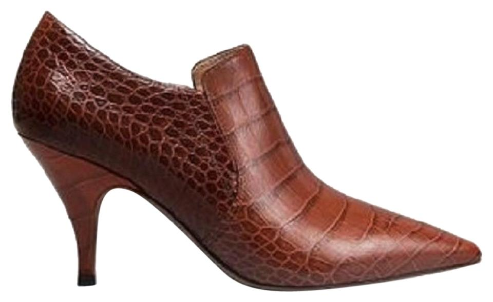 e2677cec3330 Tory Burch Perfect Brown Georgina Croc Embossed Leather Ankle Boots ...