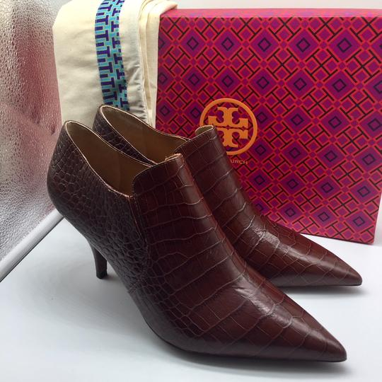 Tory Burch Crocodile Ankle Leather Perfect Brown Boots Image 2