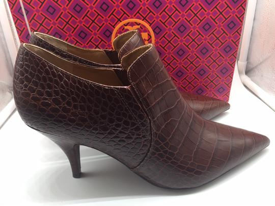 Tory Burch Crocodile Ankle Leather Perfect Brown Boots Image 3