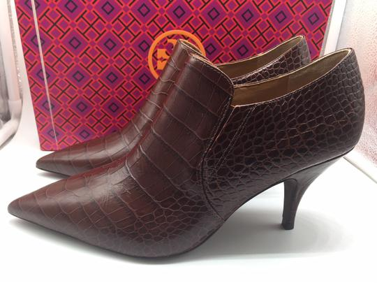 Tory Burch Crocodile Ankle Leather Perfect Brown Boots Image 4