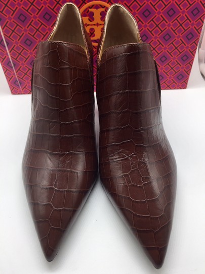 Tory Burch Crocodile Ankle Leather Perfect Brown Boots Image 5