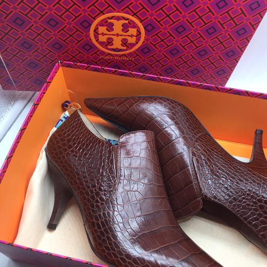 Tory Burch Crocodile Ankle Leather Perfect Brown Boots Image 8