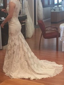 Allure Bridals Ivory Over Champagne Lace Satin 9068 Modern Wedding Dress Size 4 (S)