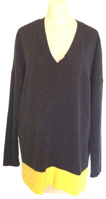 Item - V Neck 2 Ply Cashmere Color Block Gray/Yellow Sweater