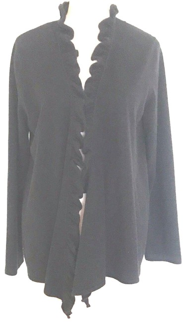 Preload https://img-static.tradesy.com/item/24550007/jones-new-york-black-cashmere-ruffle-collar-cardigan-size-12-l-0-1-650-650.jpg