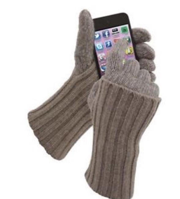 Beige Cashmere & Lambswool Knit Touchscreen Gloves Iphone Beige Cashmere & Lambswool Knit Touchscreen Gloves Iphone Image 1