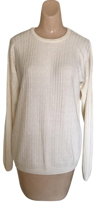 Amanda Smith Cable Knit Crewneck Ivory Sweater Amanda Smith Cable Knit Crewneck Ivory Sweater Image 1