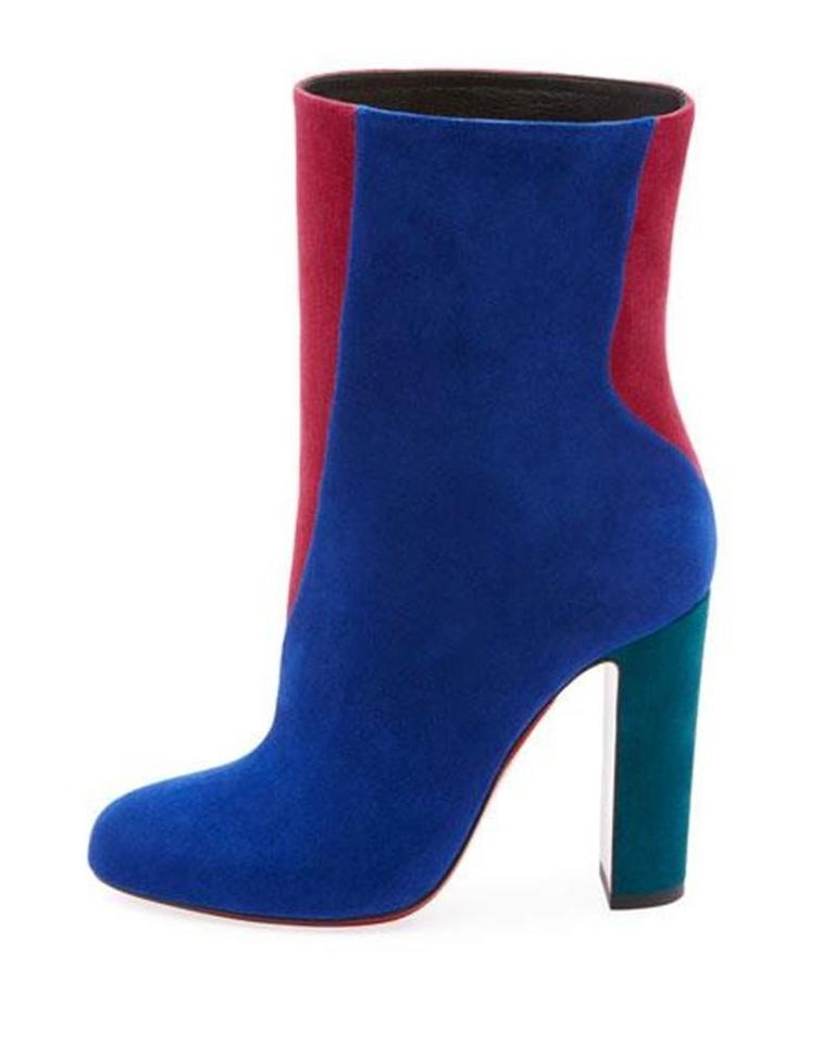 1827a144c9ba Christian Louboutin Blue Pink Green Botty Double 100 Colorblock Suede Heels Ankle  Boots Booties