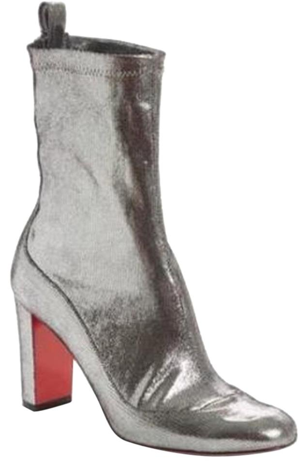 9ad1d8270457 Christian Louboutin Silver Gena 85 Stretch Metallic Leather Heels Ankle  Boots Booties