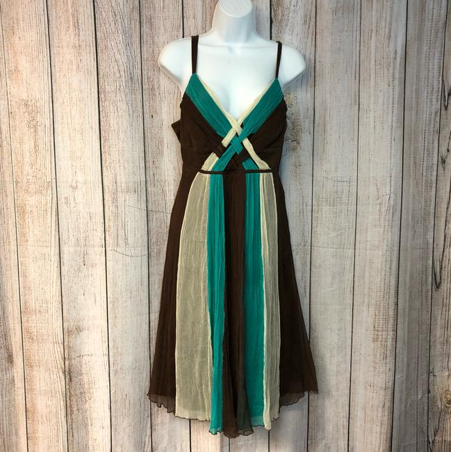8f4fefdaeb Signature by Robbie Bee Chocolate Tri-color Short Casual Dress Size ...