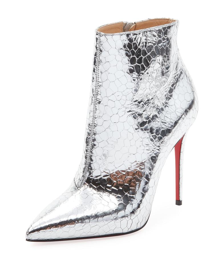 63b41f38838 Christian Louboutin Silver So Kate 100 Metallic Leather Heels Ankle  Boots/Booties Size EU 38.5 (Approx. US 8.5) Regular (M, B) 30% off retail