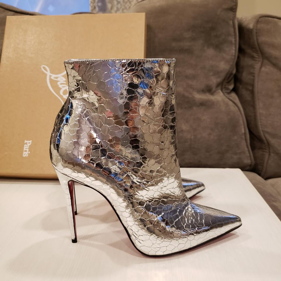 440272644f8 Christian Louboutin Silver So Kate 100 Metallic Leather Heels Ankle  Boots Booties Size EU 38.5 (Approx. US 8.5) Regular (M