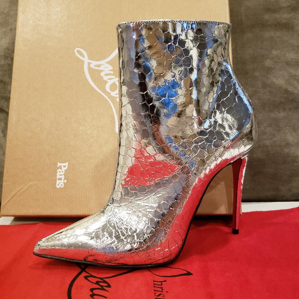 a018641a2f2 Christian Louboutin Silver So Kate 100 Metallic Leather Heels Ankle ...