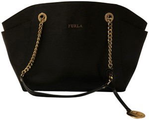 Furla Gold Hardware Leather Pockets Magnetic Tote in black