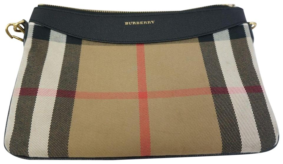 6802cf48a8d1 Burberry Peyton House Check Black Leather and Fabric Cross Body Bag ...