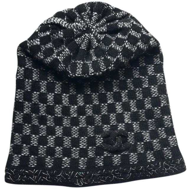 Item - Black Grey Silver Metallic Cashmere Wool Beanie Cap Quilted Cc Logo 15k Plaid Checkered Check Hat