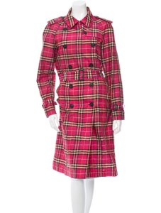 Burberry London Prorsum Novacheck Plaid Silk Trench Coat