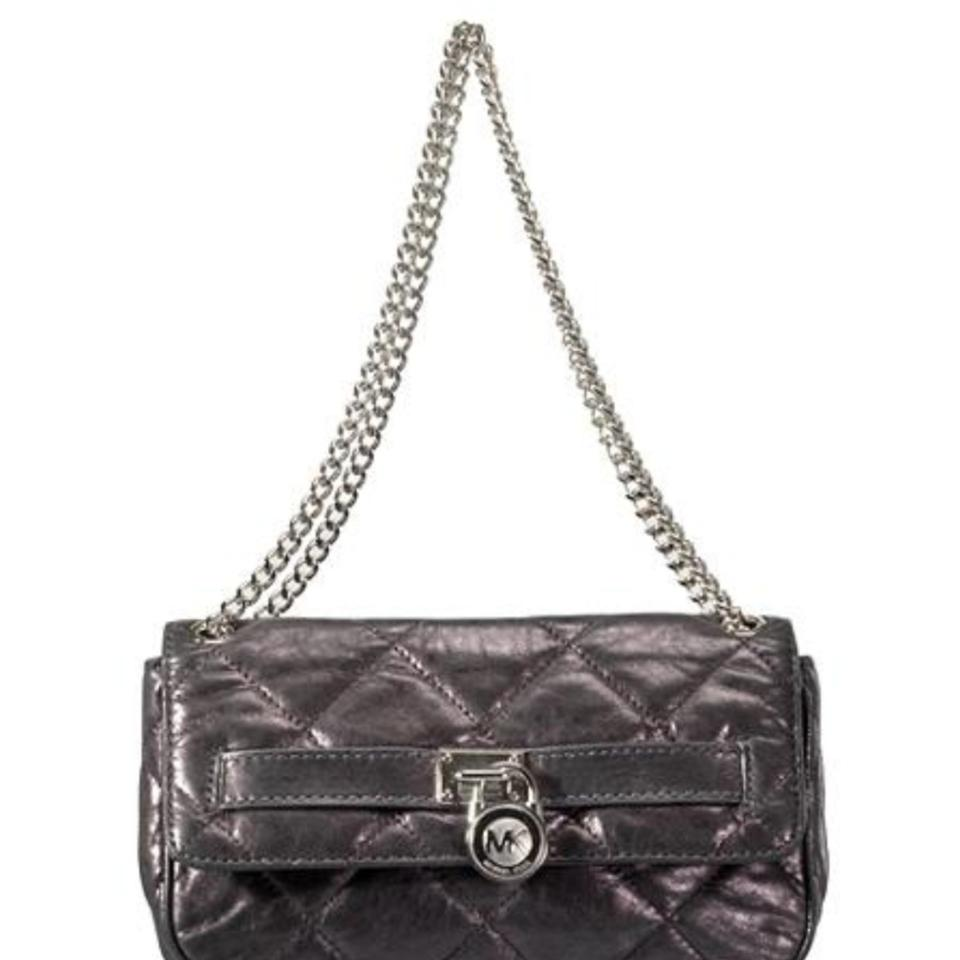 246b2484d084 Michael Kors Hamilton Quilted Shoulder Clutch Grey Metallic Leather Cross  Body Bag